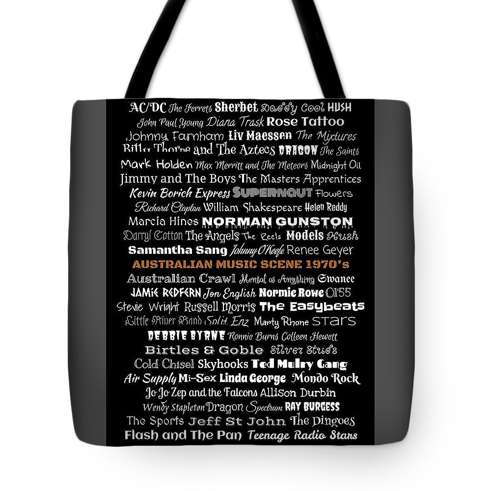 Aussie Tote Bag featuring the digital art Australian Music Scene 1970's No 2 by LogCabinCottage