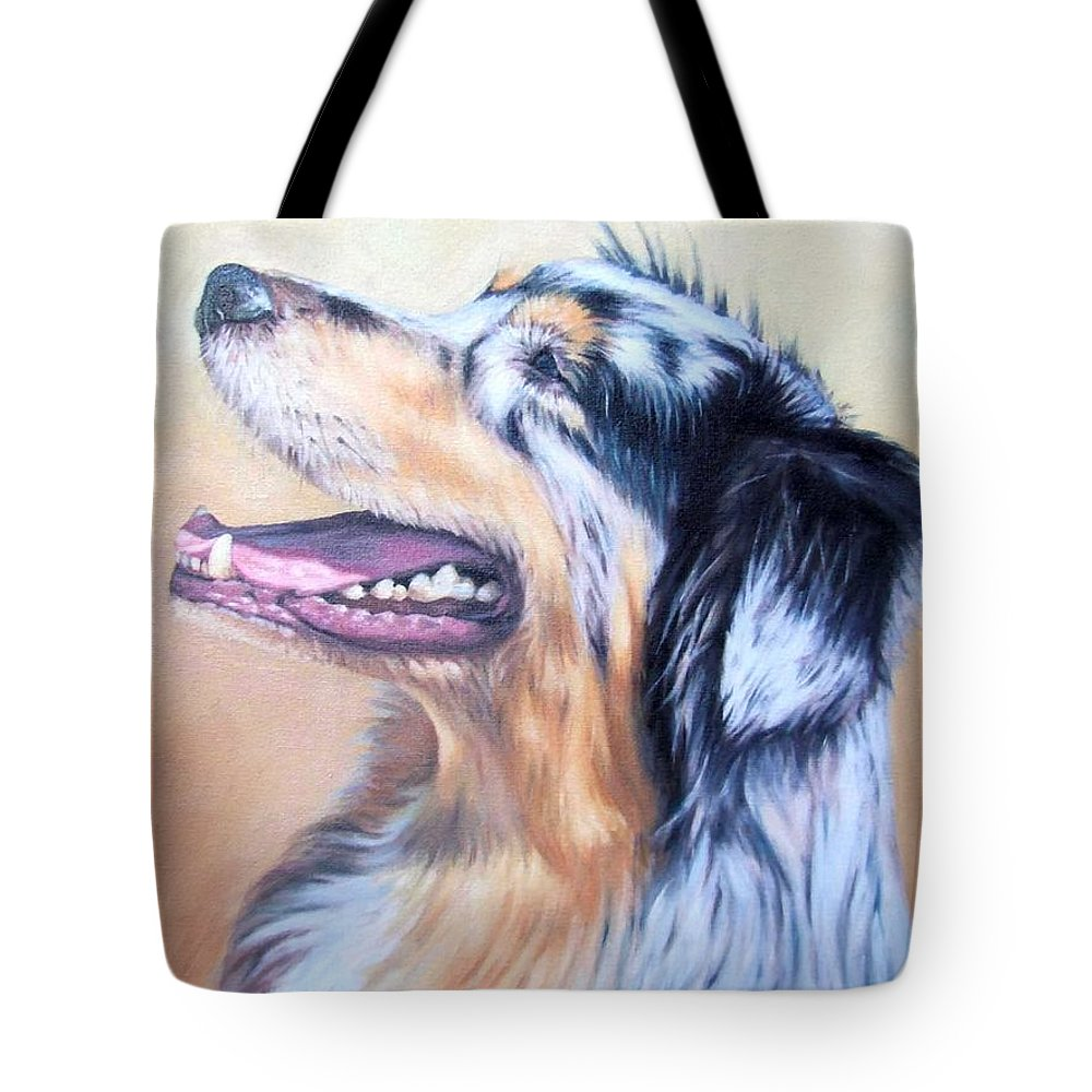 Dog Tote Bag featuring the painting Australian Shepherd Dog by Nicole Zeug