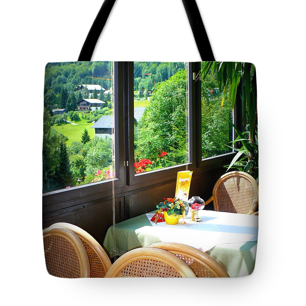 Austria Tote Bag featuring the photograph Austrian Cafe by Carol Groenen