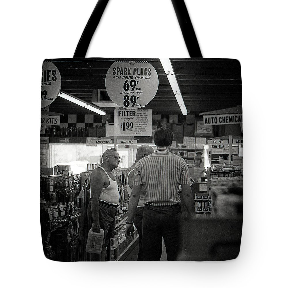 Auto Parts Tote Bag featuring the photograph Auto-parts Store, 1972 by Jeremy Butler