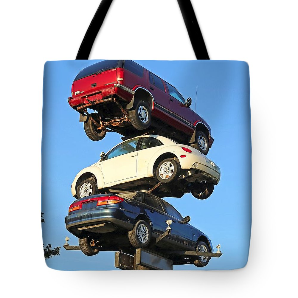 Car Tote Bag featuring the photograph Auto Pile Up by Steve Gass