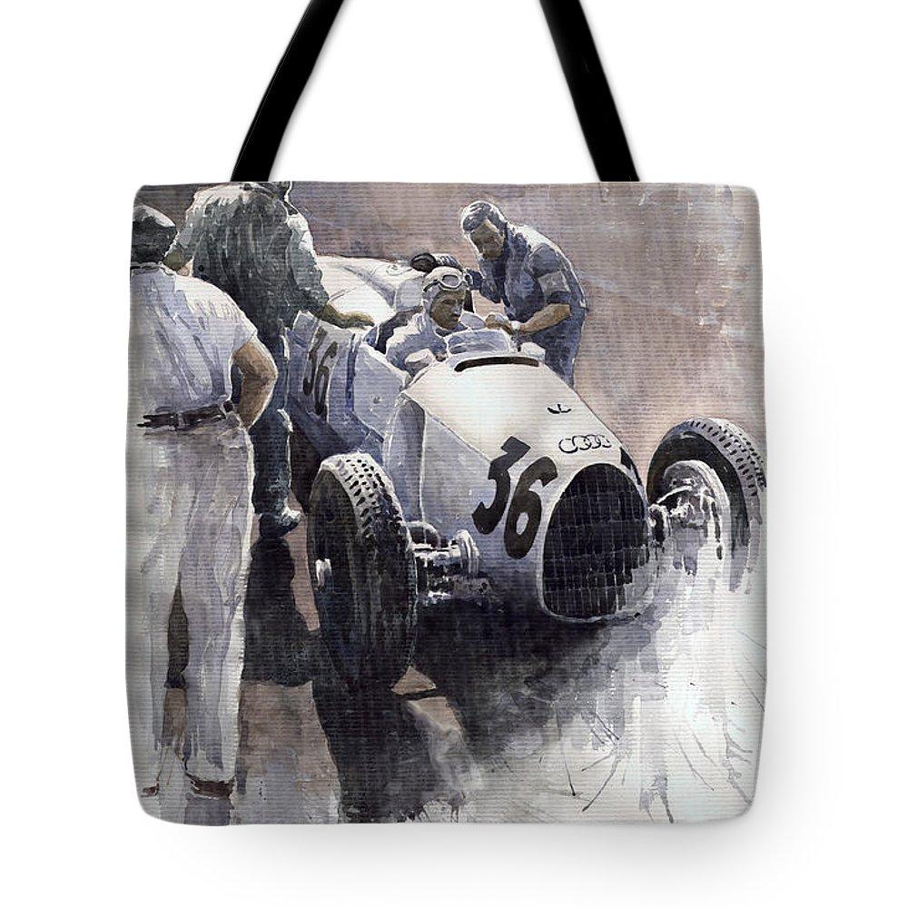 Auto Tote Bag featuring the painting Auto Union B Type 1935 Italian Gp Monza B Rosermeyer by Yuriy Shevchuk