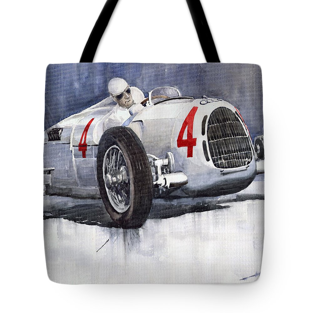 Auto Tote Bag featuring the painting Auto Union C Type 1937 Monaco Gp Hans Stuck by Yuriy Shevchuk