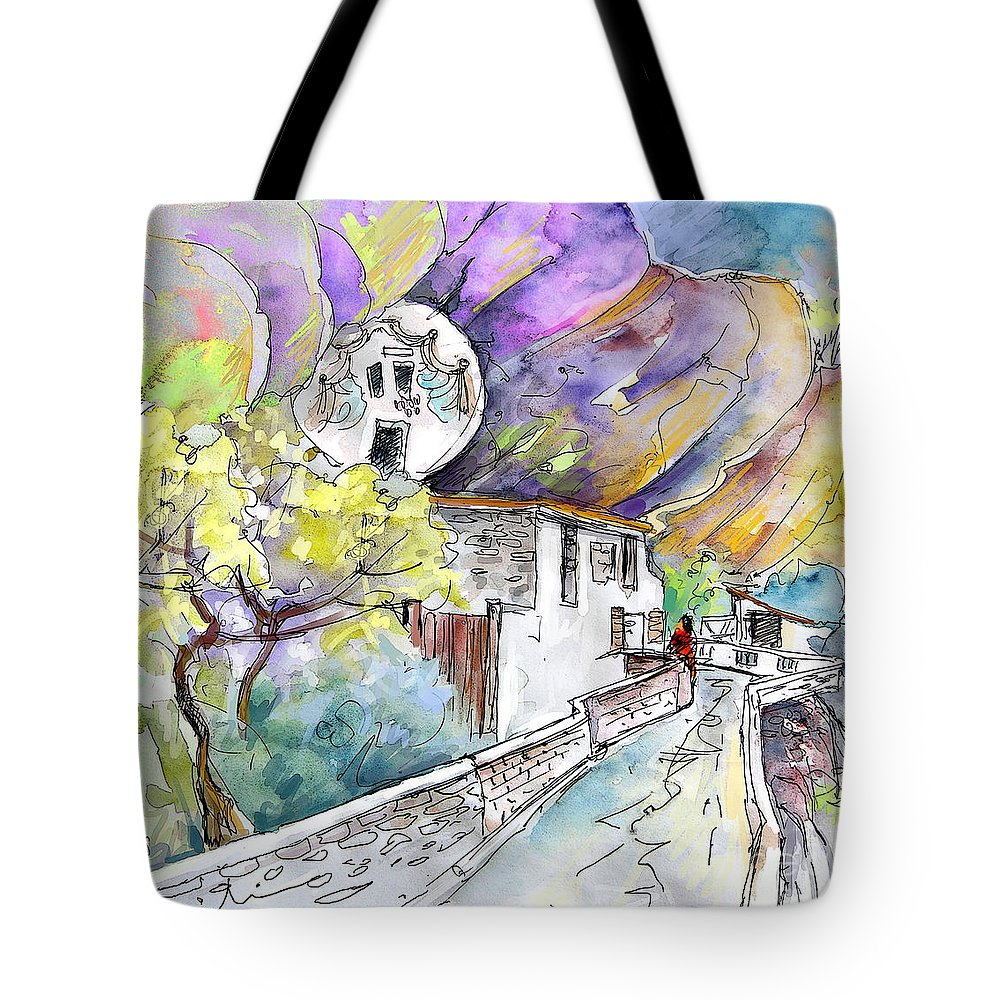 Arnedillo Tote Bag featuring the painting Autol In La Rioja Spain 03 by Miki De Goodaboom