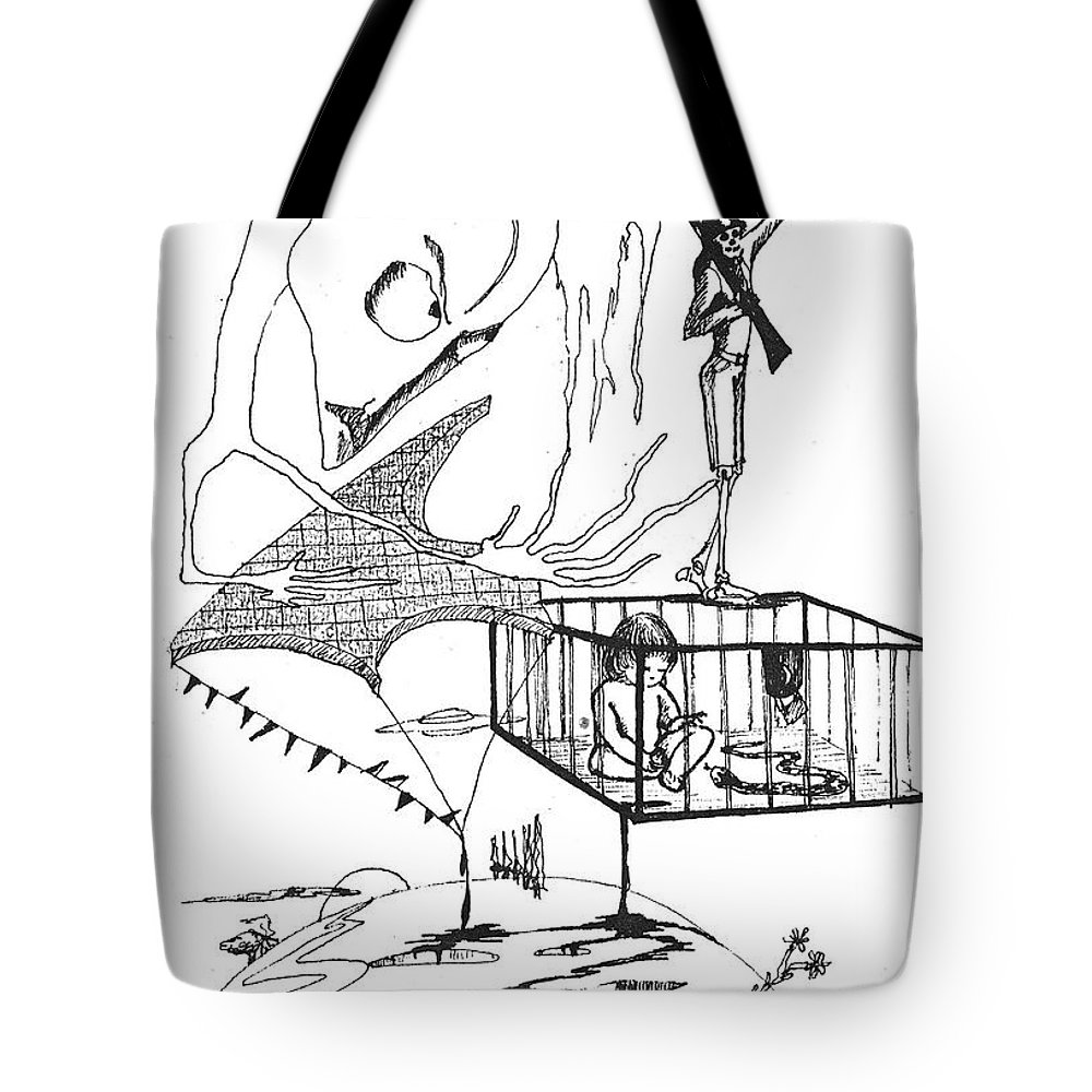 Drawing Pen Automatism Tote Bag featuring the drawing Automatism by Veronica Jackson