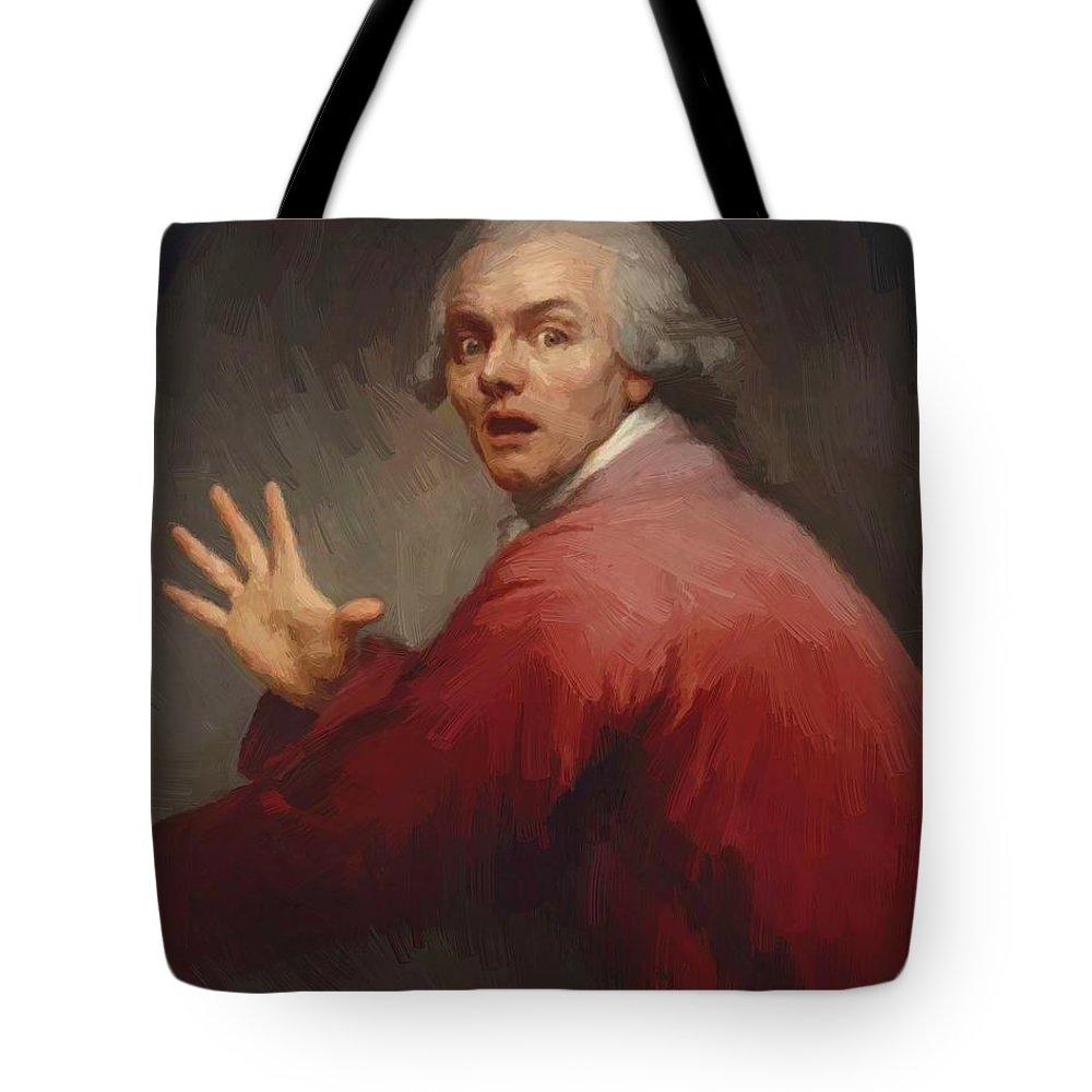 Autoportrait Tote Bag featuring the painting Autoportrait En Homme Surpris Et Terroris 1791 by Ducreux Joseph