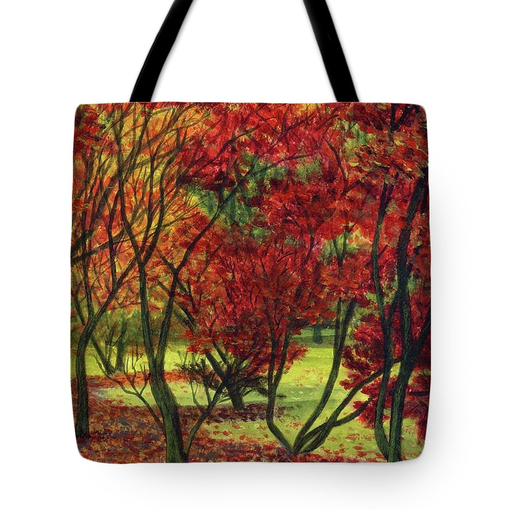 Autumn Red Woodlands Painting Tote Bag featuring the painting Autum Red Woodlands Painting by Edward McNaught-Davis