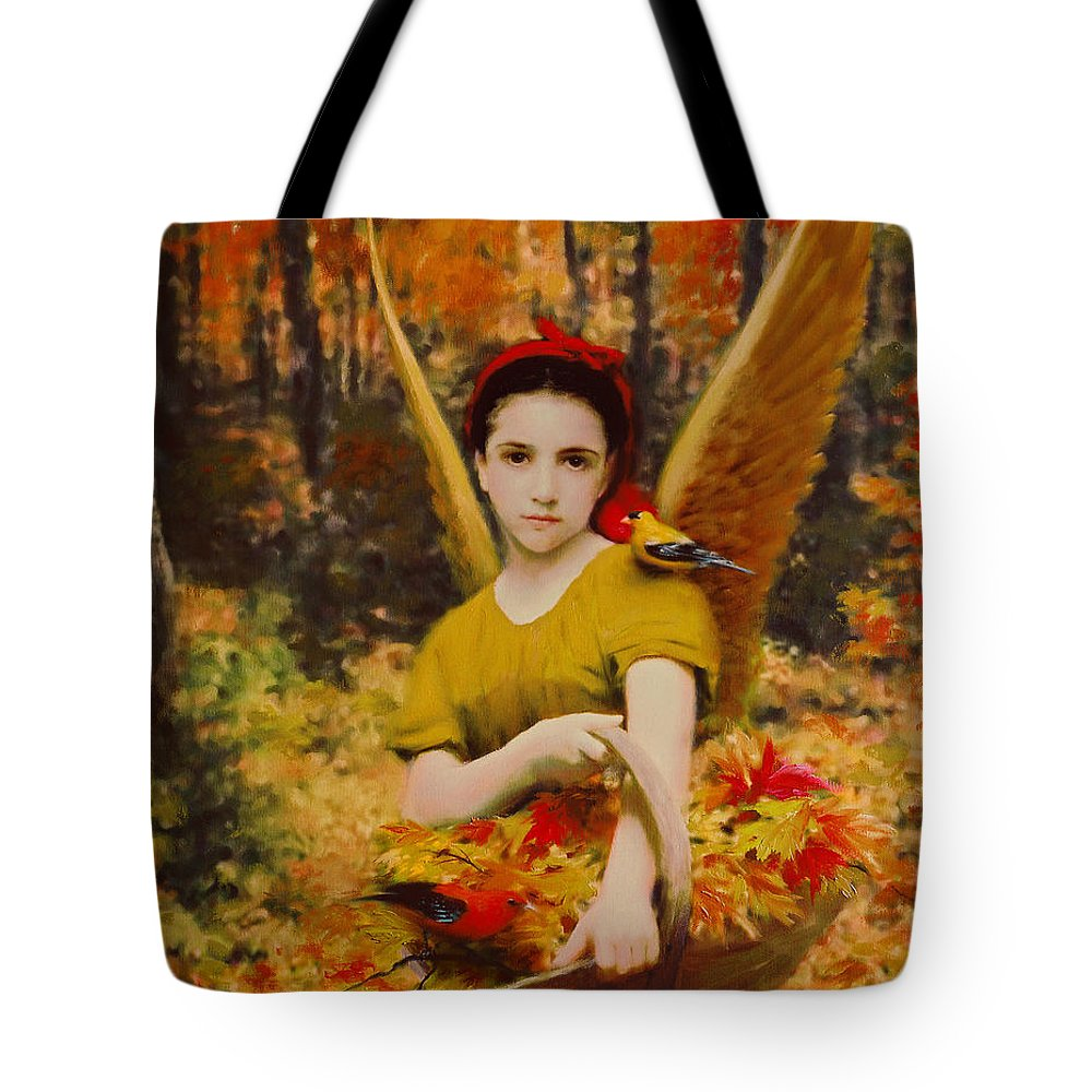 Angel Tote Bag featuring the painting Autumn Angels by Stephen Lucas