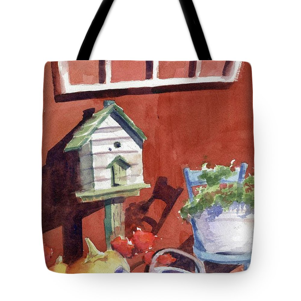 Window Tote Bag featuring the painting Autumn At Little Mader by Marsha Elliott