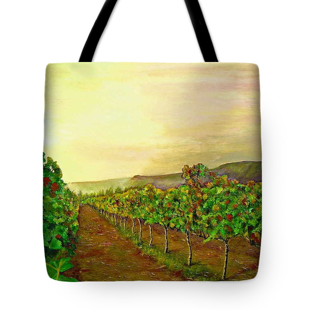 Vineyard Tote Bag featuring the painting Autumn At Steenberg by Michael Durst