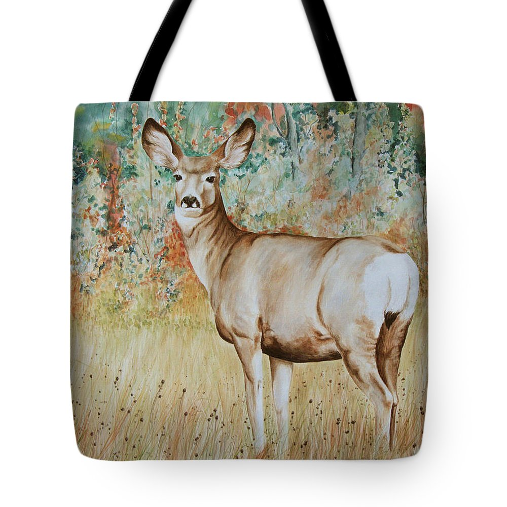 Wildlife Tote Bag featuring the painting Autumn Beauty- Mule Deer Doe by Elaine Booth-Kallweit