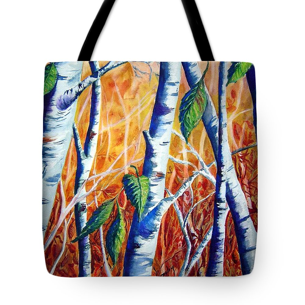 Autumn Birch Trees Tote Bag featuring the painting Autumn Birch by Joanne Smoley