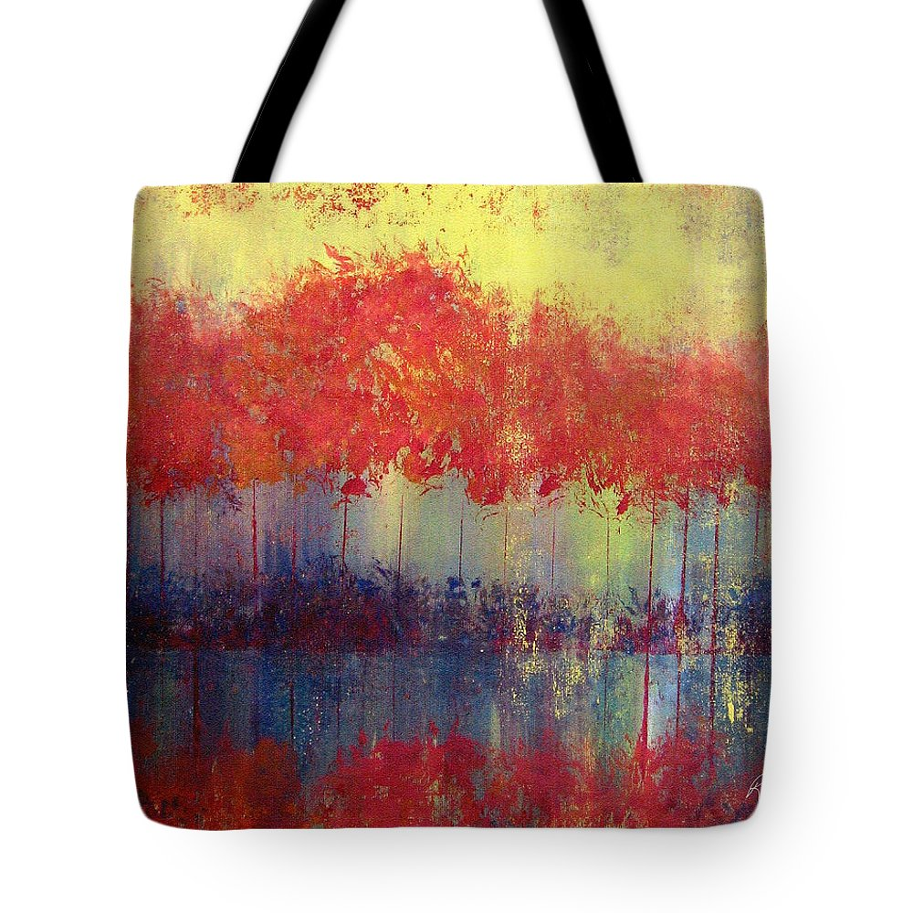 Abstract Tote Bag featuring the painting Autumn Bleed by Ruth Palmer