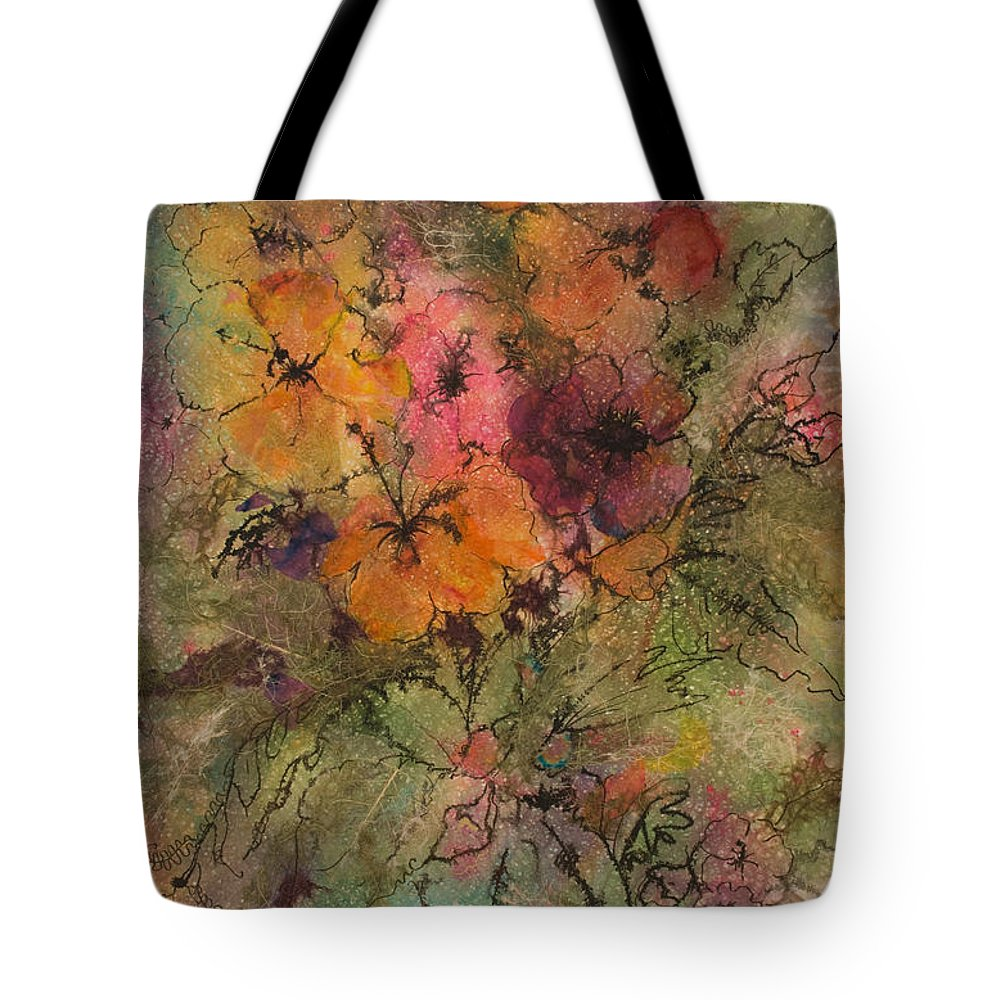 Floral Tote Bag featuring the painting Autumn Blooms by Barbara Colangelo
