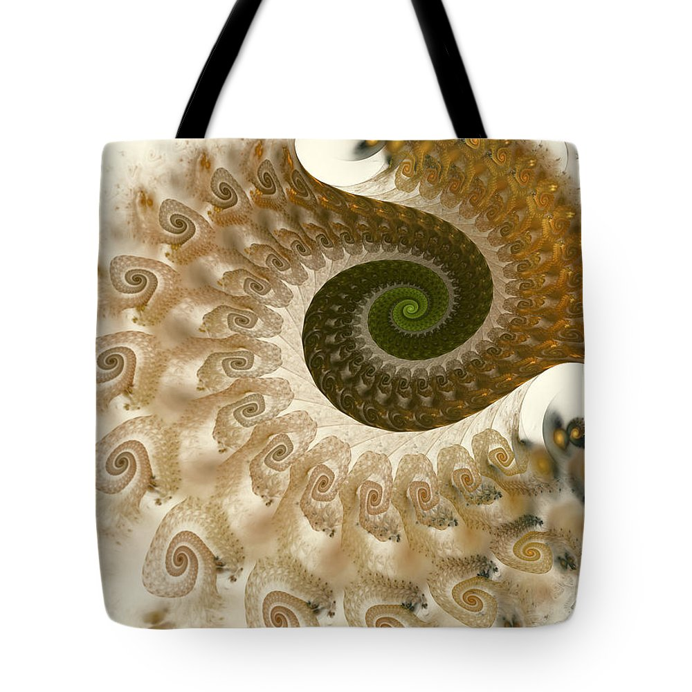 Fractal Tote Bag featuring the digital art Autumn Breeze by Amorina Ashton