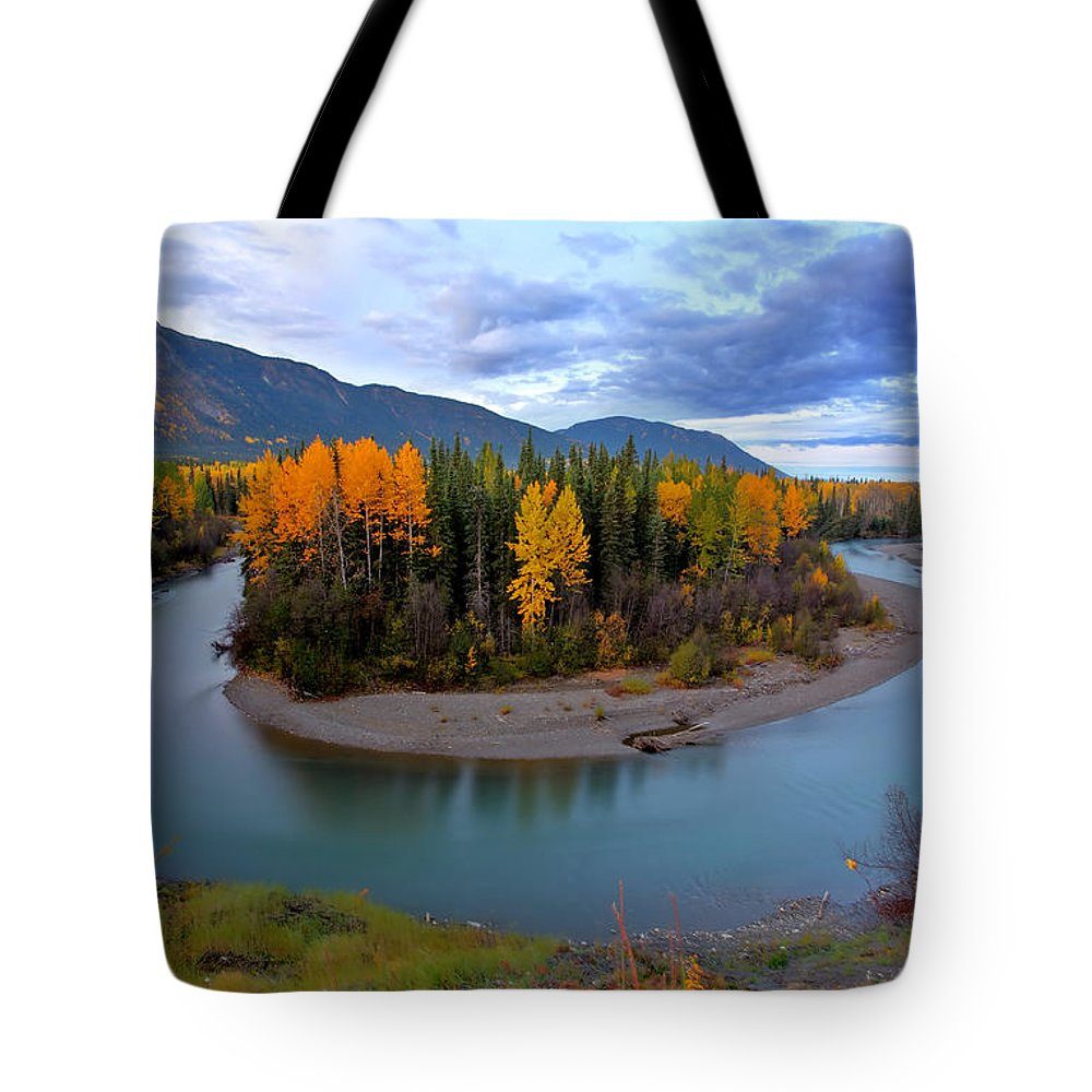 River Tote Bag featuring the digital art Autumn Colors Along Tanzilla River In Northern British Columbia by Mark Duffy