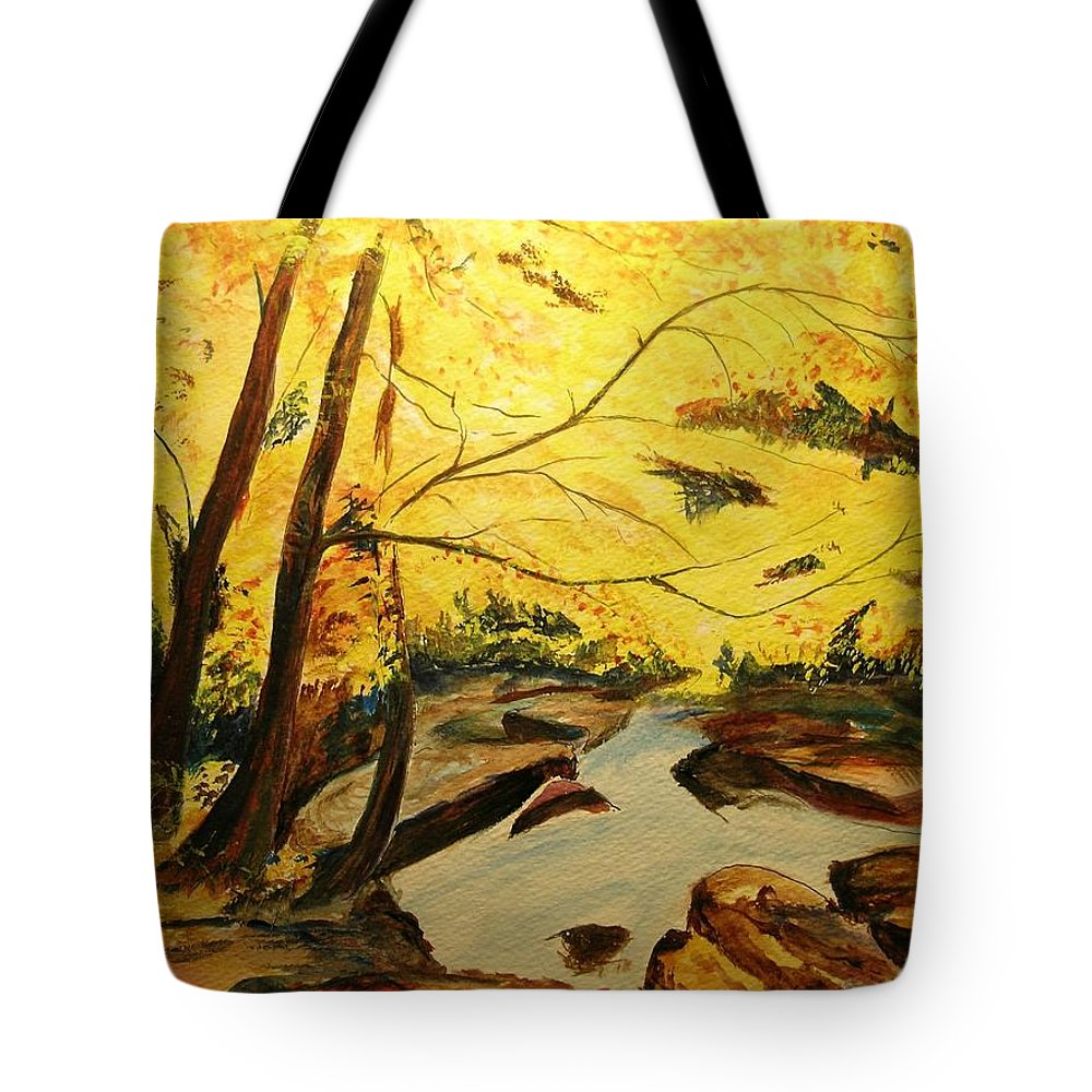 Trees In Autumn Tote Bag featuring the painting Autumn Colours by Lizzy Forrester