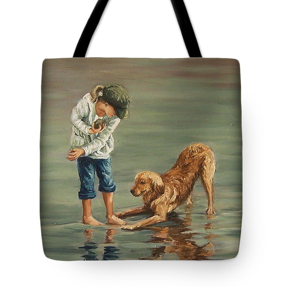 Girl Kid Child Figurative Dog Sea Reflection Playing Water Beach Tote Bag featuring the painting Autumn Eve by Natalia Tejera