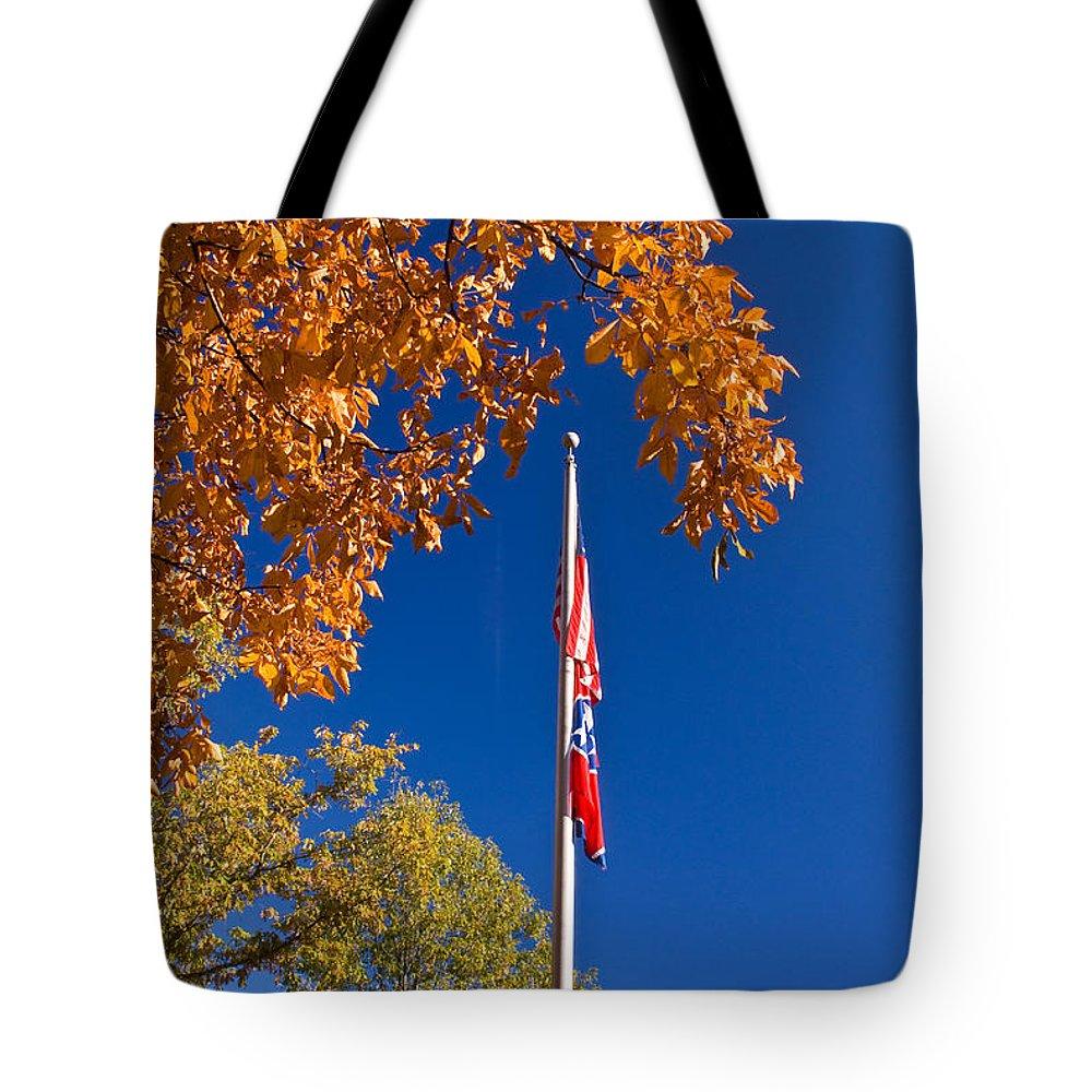 Flag Tote Bag featuring the photograph Autumn Flag by Douglas Barnett
