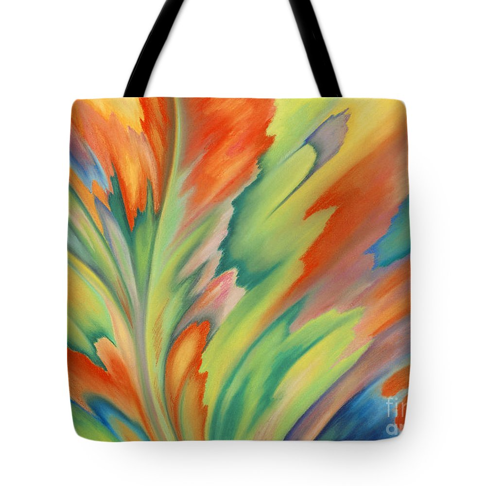 Abstract Tote Bag featuring the painting Autumn Flame by Lucy Arnold