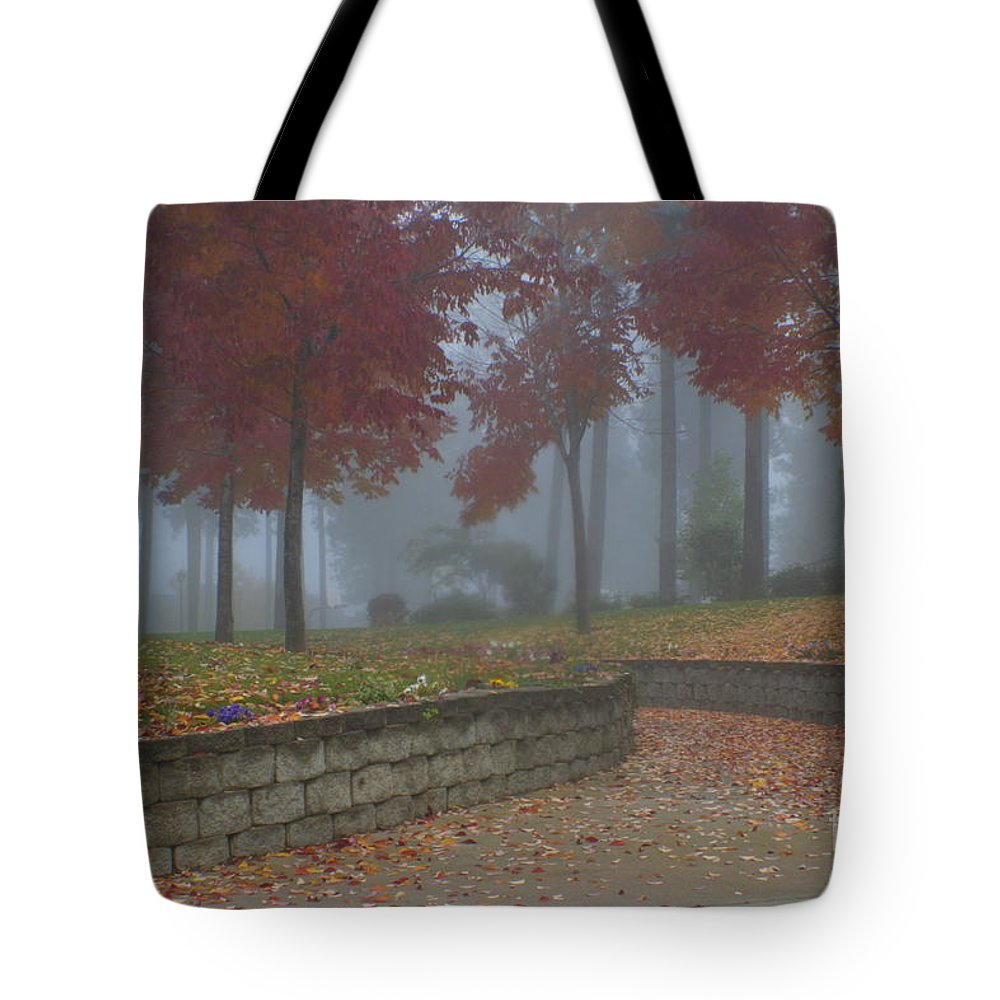 Autumn Tote Bag featuring the photograph Autumn Fog by Idaho Scenic Images Linda Lantzy