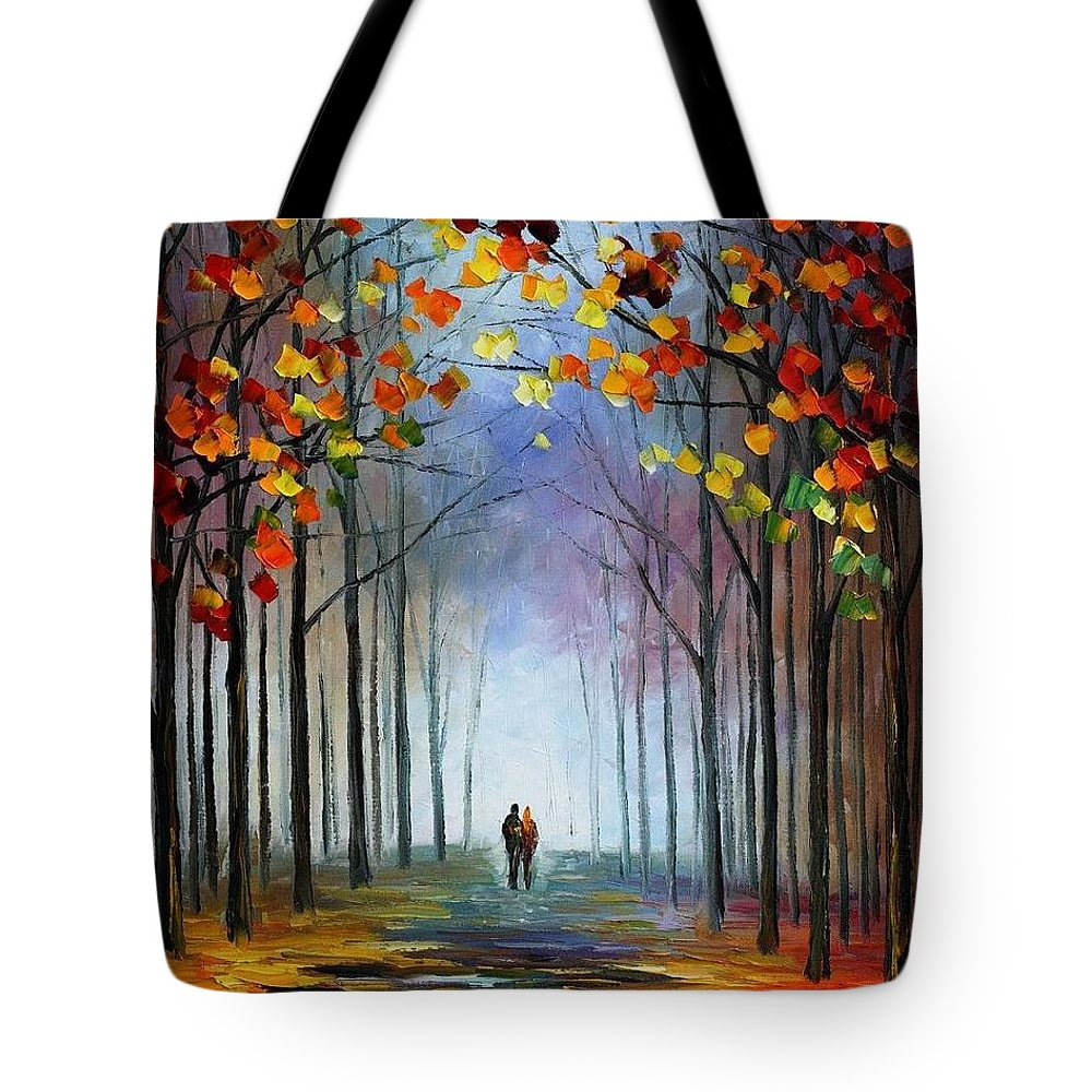 Afremov Tote Bag featuring the painting Autumn Fog by Leonid Afremov