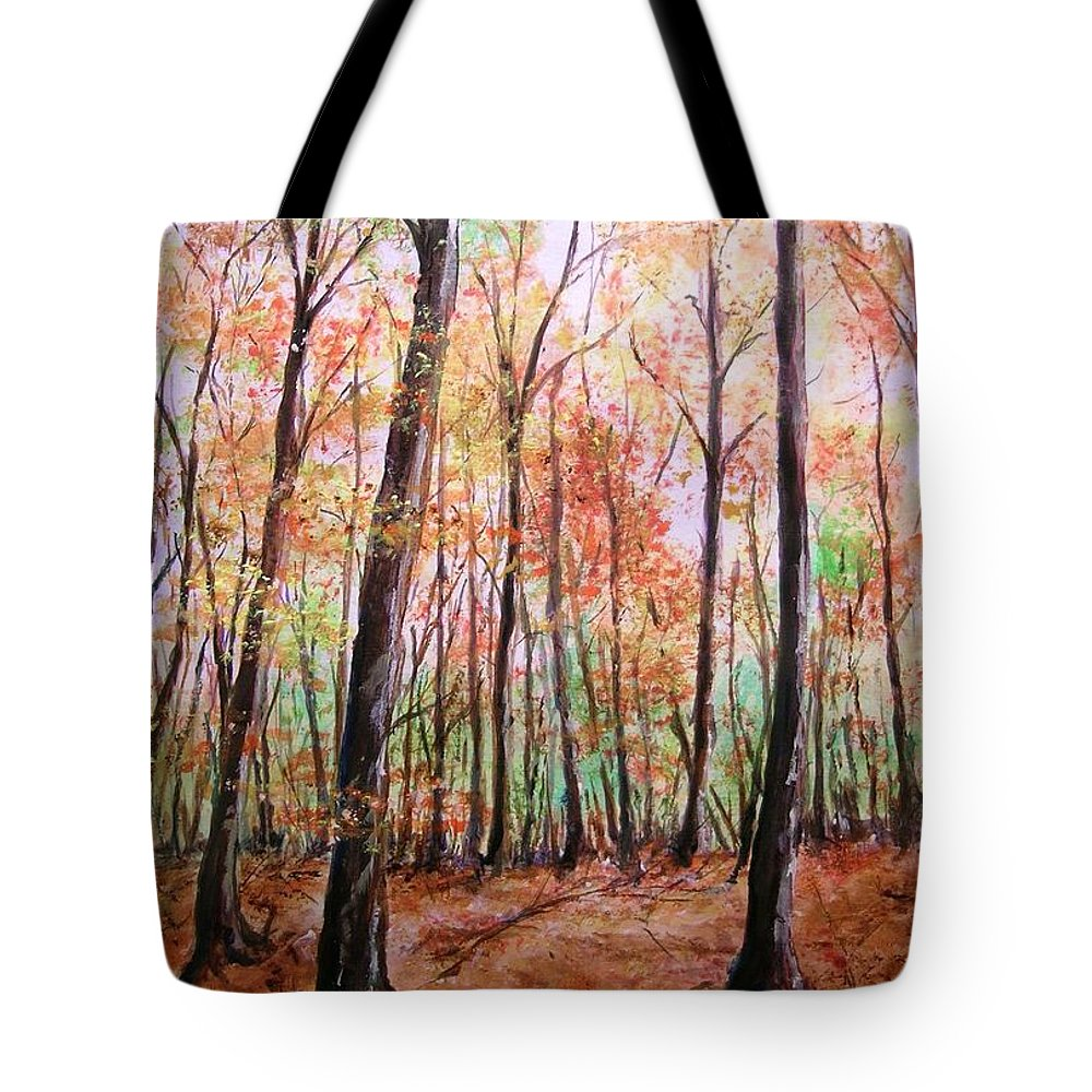Landscape Tote Bag featuring the painting Autumn Forrest by Lizzy Forrester
