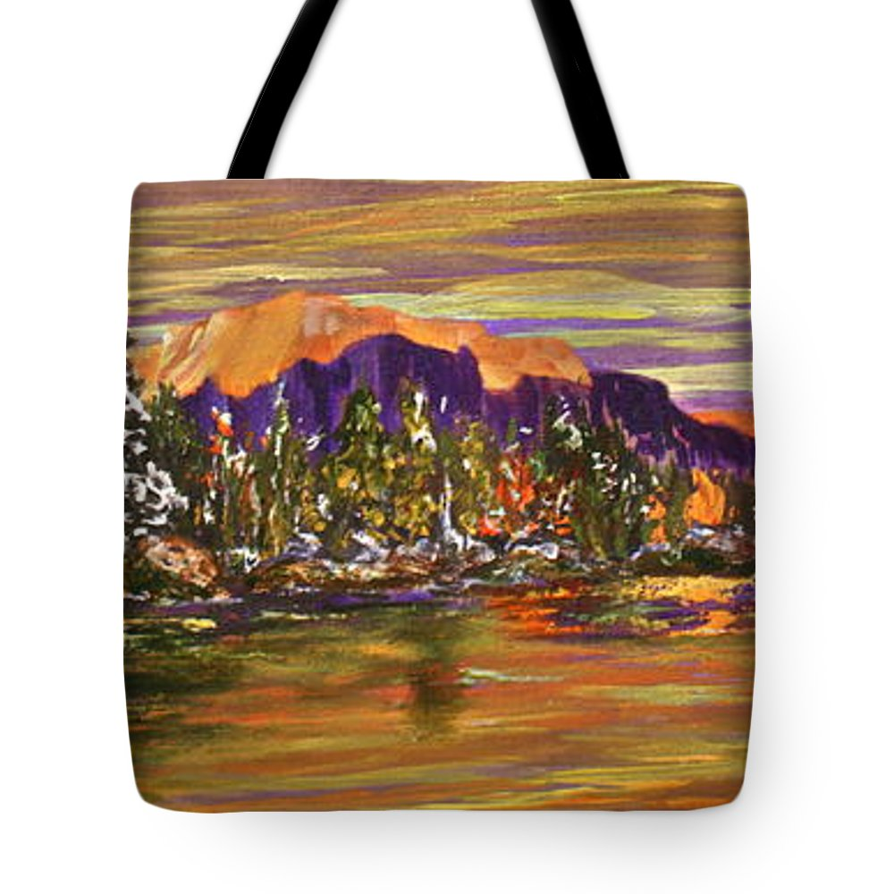 Lake Tote Bag featuring the painting Autumn Frost by Joanne Smoley