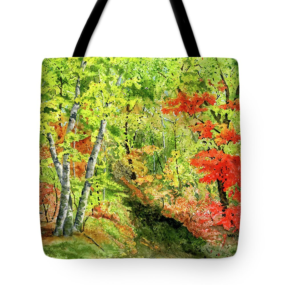 Autumn Tote Bag featuring the painting Autumn Fun by Mary Tuomi