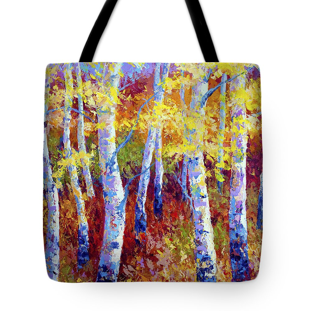 Birch Tote Bag featuring the painting Autumn Gold by Marion Rose