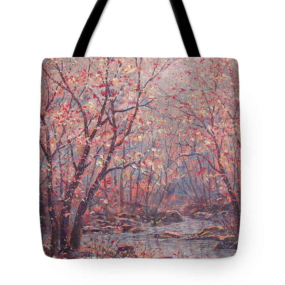Landscape Tote Bag featuring the painting Autumn Harmony. by Leonard Holland