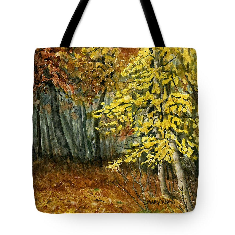 Landscape Tote Bag featuring the painting Autumn Hollow I by Mary Tuomi