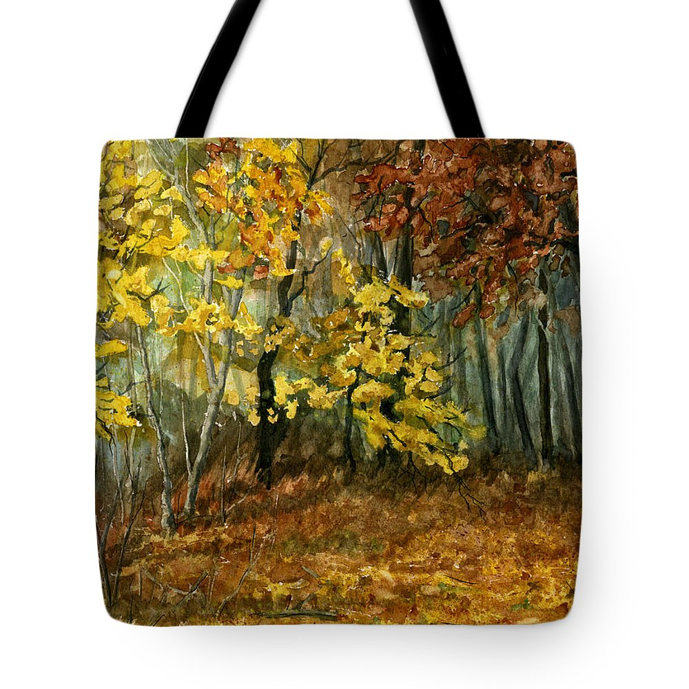 Landscape Tote Bag featuring the painting Autumn Hollow II by Mary Tuomi