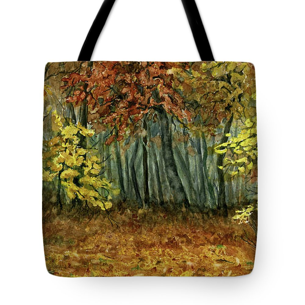 Autumn Tote Bag featuring the painting Autumn Hollow by Mary Tuomi