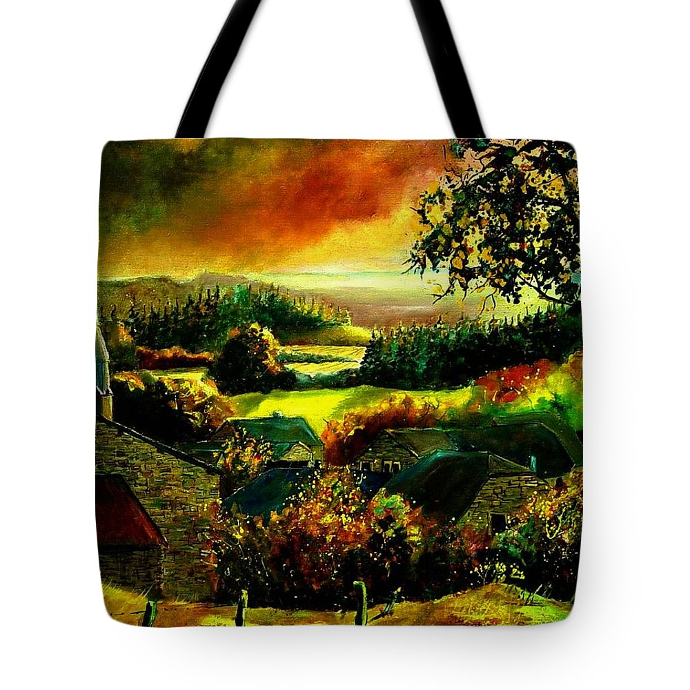 Landscape Tote Bag featuring the painting Autumn In Our Village Ardennes by Pol Ledent