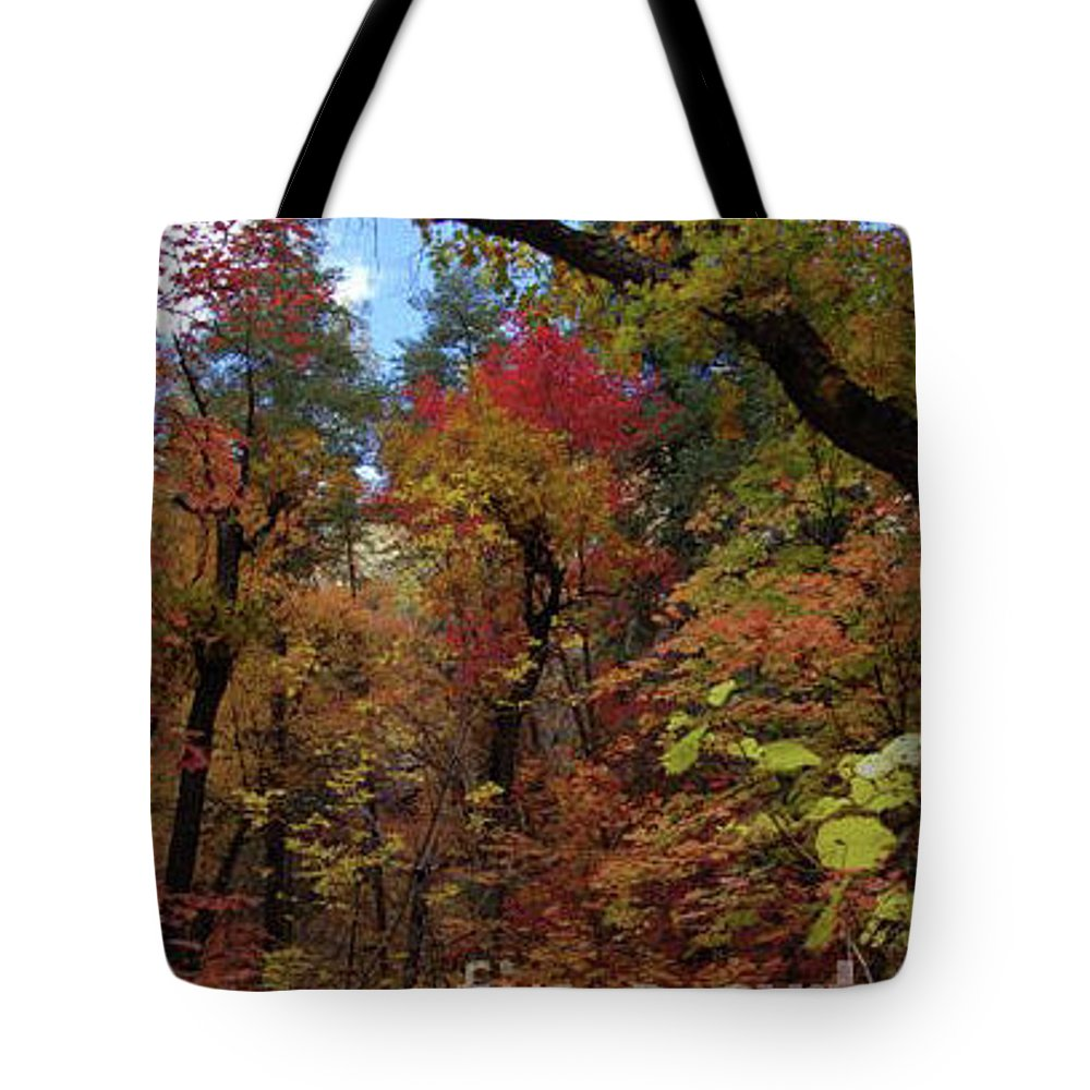 Woods Tote Bag featuring the photograph Autumn In Sedona by Frank Stallone