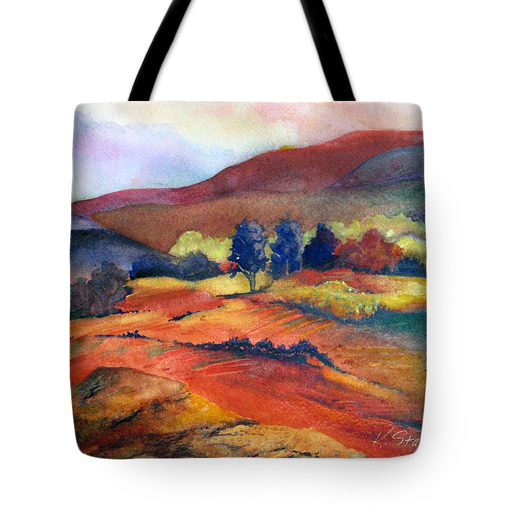 Landscape Tote Bag featuring the painting Autumn In The Country by Karen Stark