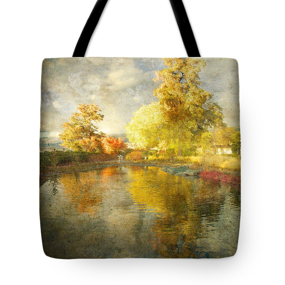 Japanese Gardens Tote Bag featuring the photograph Autumn In The Pond by Tara Turner