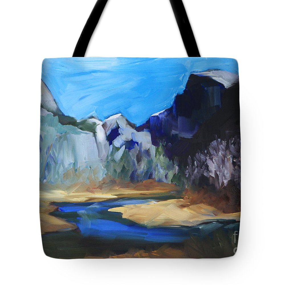 Yosemite Tote Bag featuring the painting Autumn In Yosemite by Mary Beth Harrison