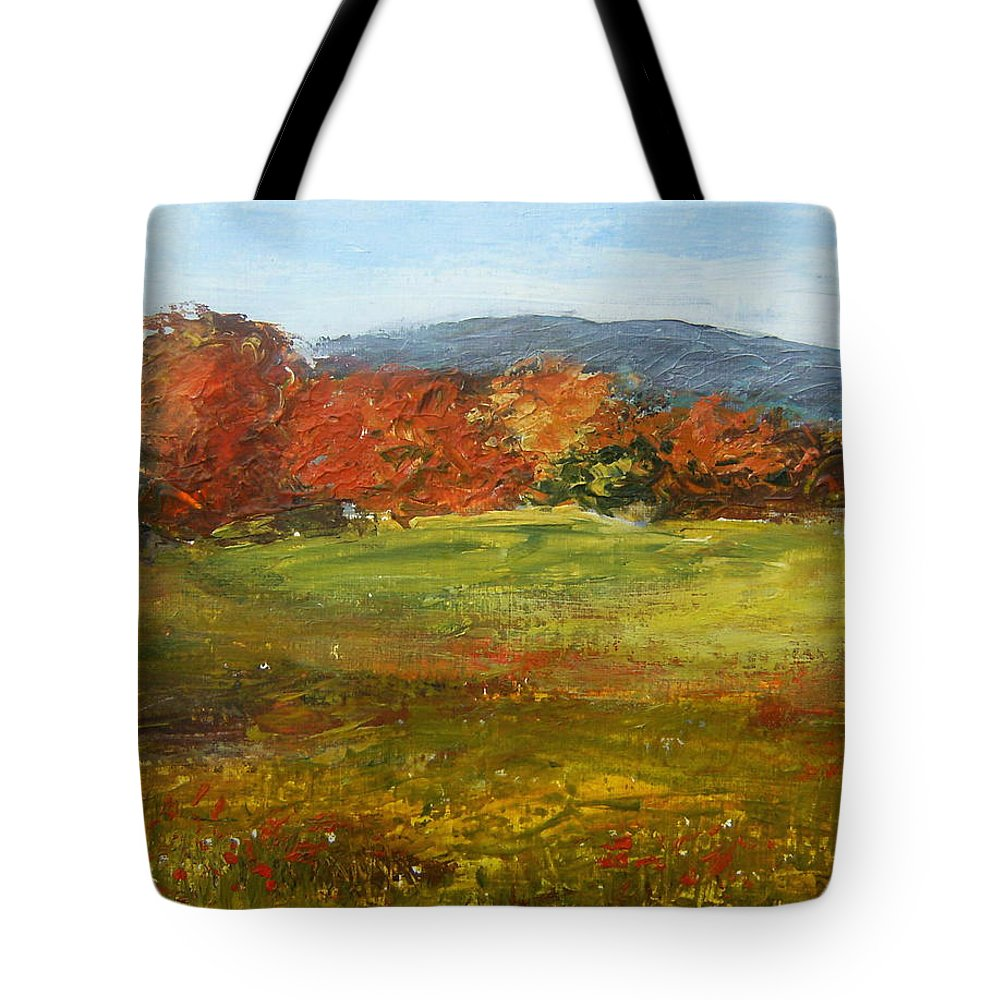 Landscape Tote Bag featuring the painting Autumn Is Here by Tami Booher