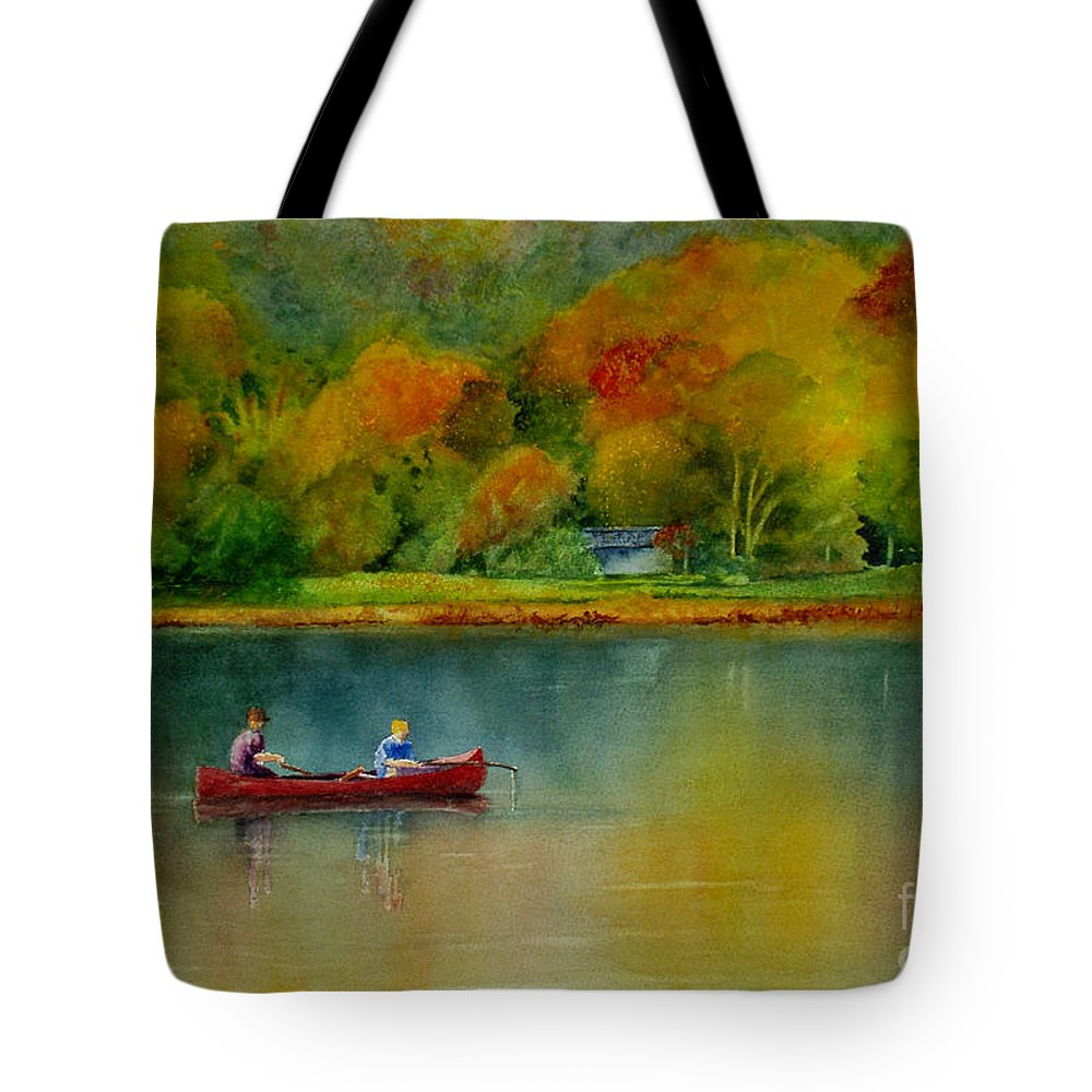 New England Tote Bag featuring the painting Autumn by Karen Fleschler