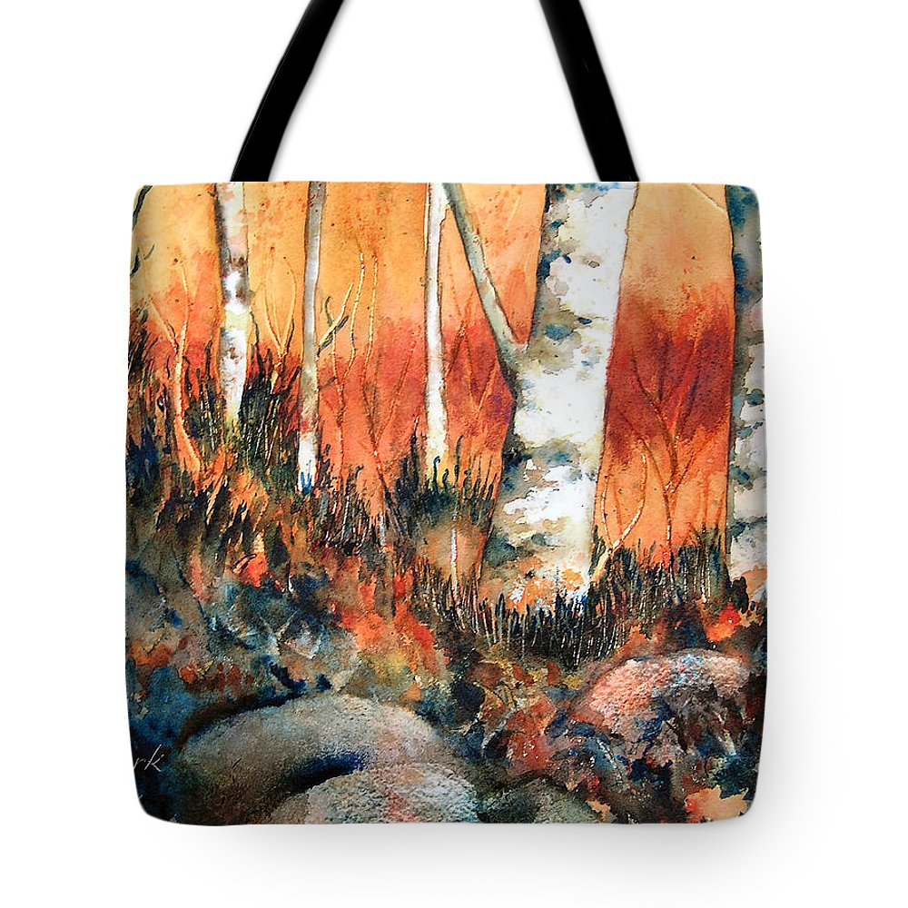 Landscape Tote Bag featuring the painting Autumn by Karen Stark