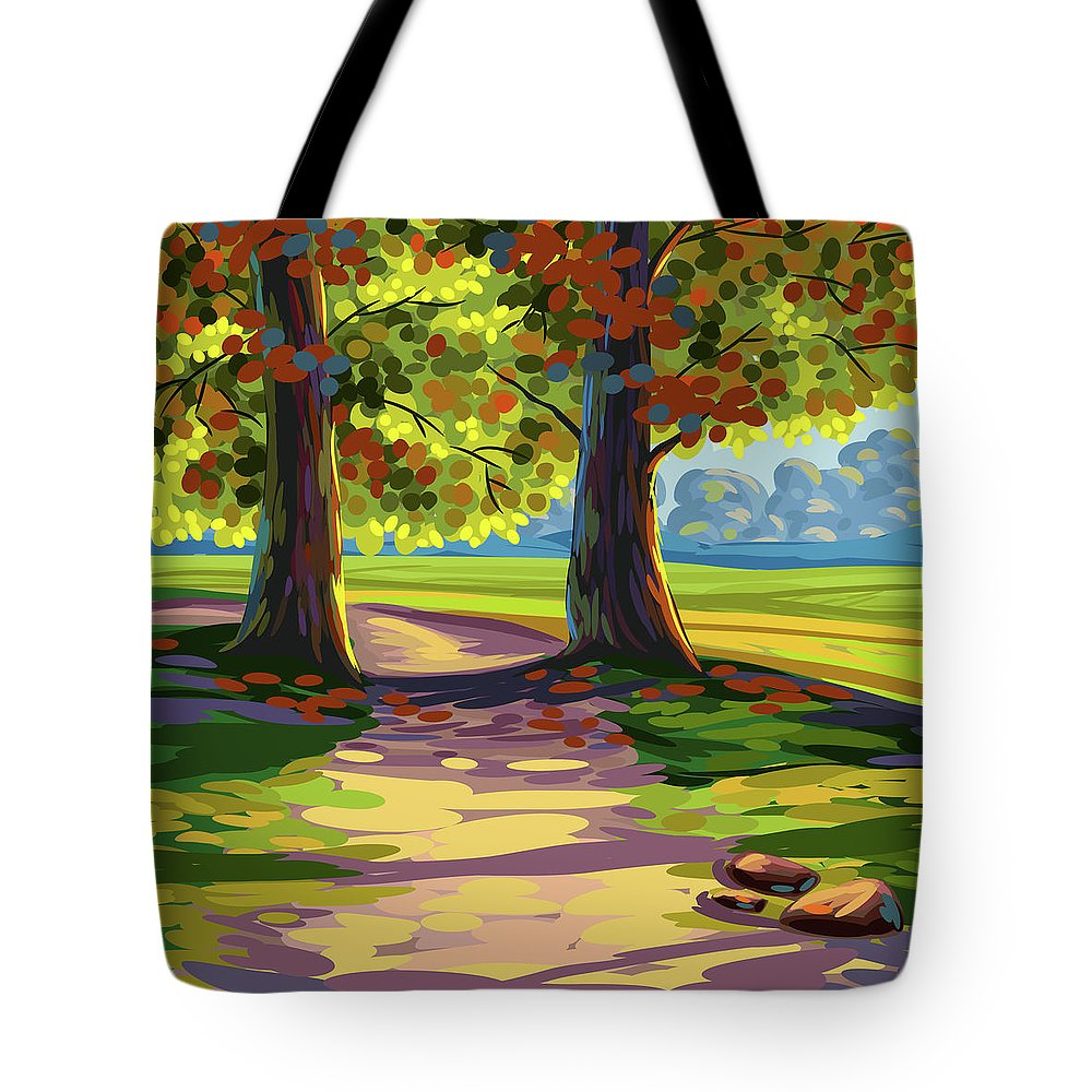 Autumn Tote Bag featuring the painting Autumn Landscape by Gajanan Bhat
