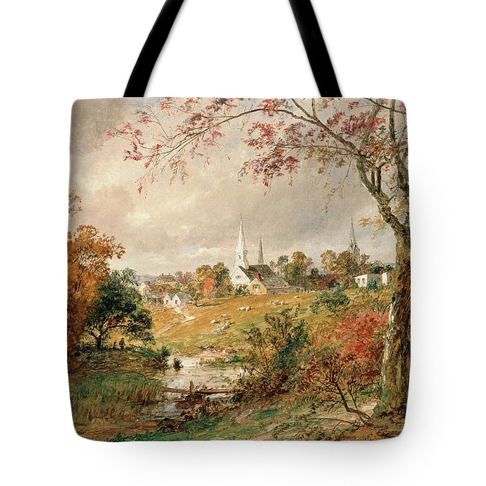 Autumn Landscape Tote Bag featuring the painting Autumn Landscape by Jasper Francis Cropsey
