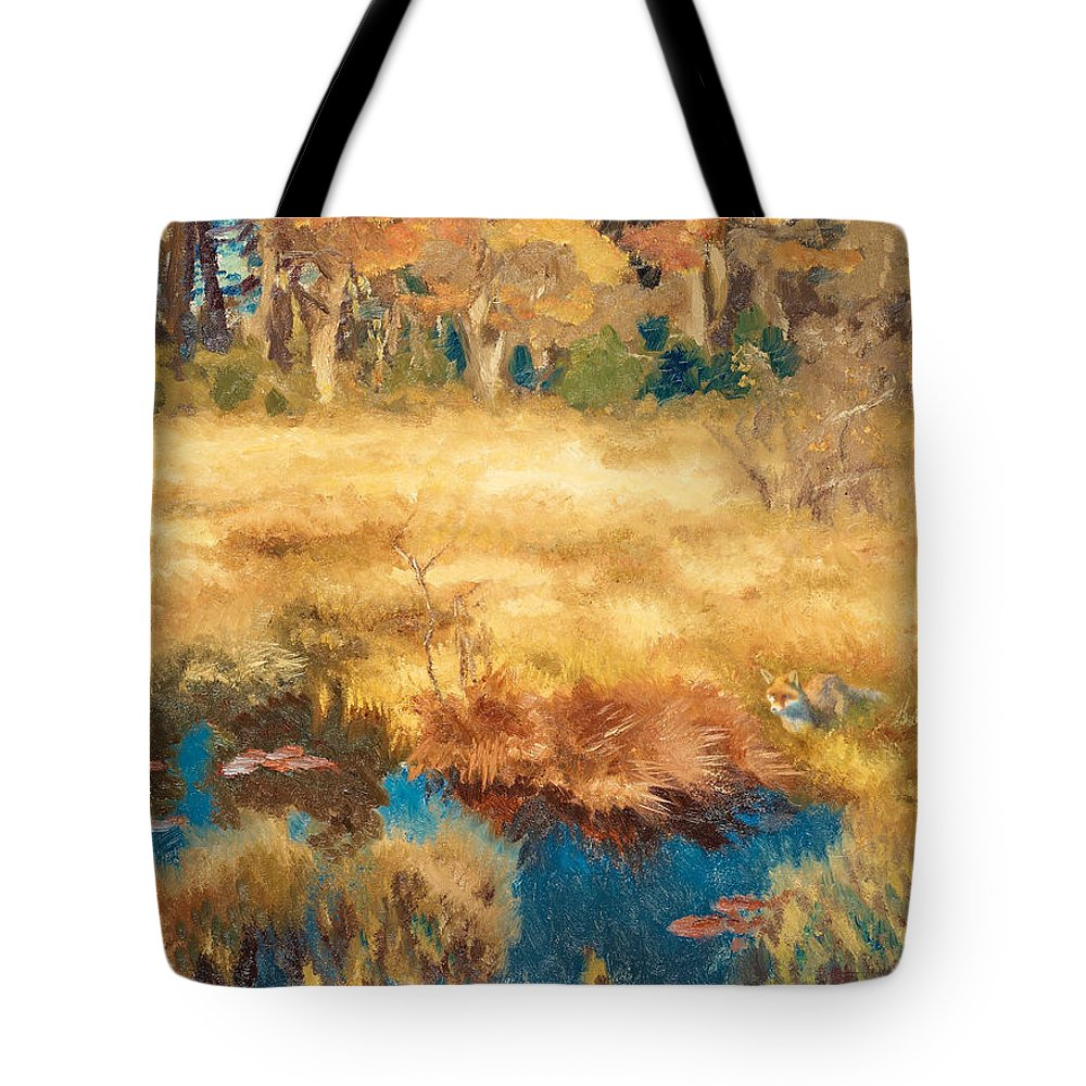Swedish Art Tote Bag featuring the painting Autumn Landscape With Fox by Bruno Liljefors