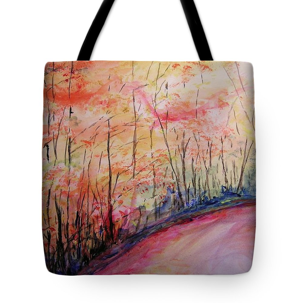 Landsape Tote Bag featuring the painting Autumn Lane II by Lizzy Forrester