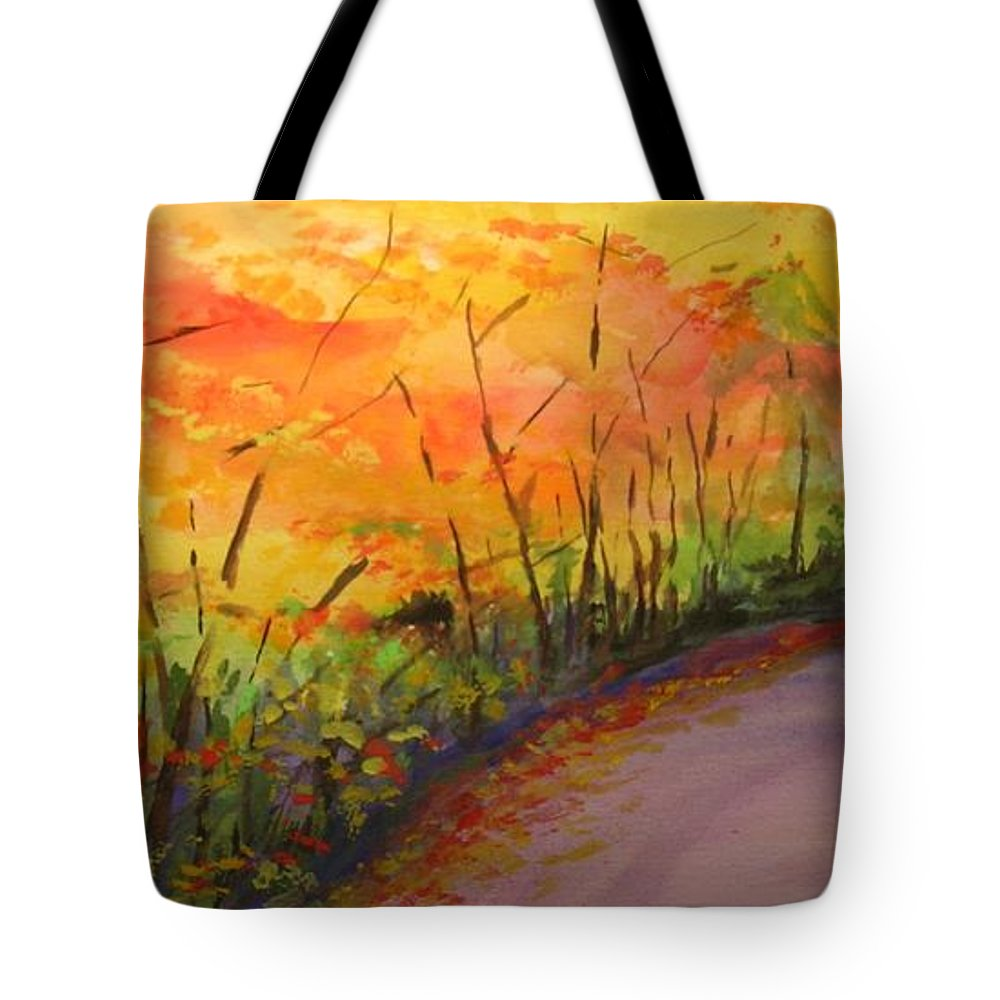 Original Landscape Impressionist Painting Tote Bag featuring the painting Autumn Lane IIi by Lizzy Forrester