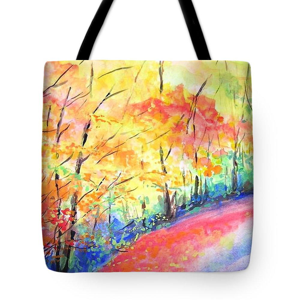 Autumn Tote Bag featuring the painting Autumn Lane Iv by Lizzy Forrester