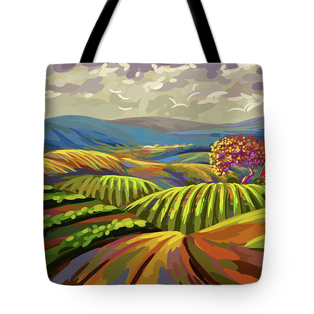 Autumn Tote Bag featuring the painting Autumn Lanscape by Gajanan Bhat