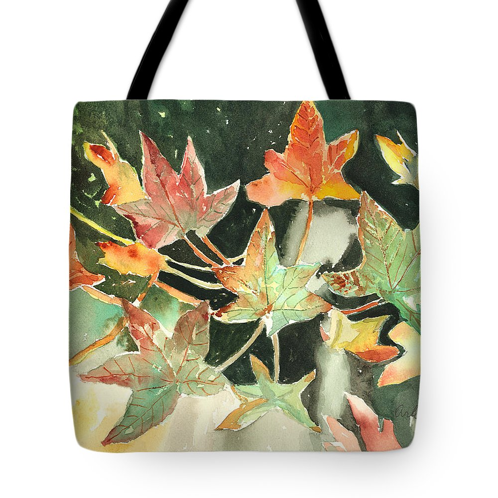 Leaf Tote Bag featuring the painting Autumn Leaves by Arline Wagner